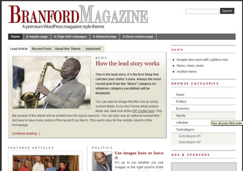 Branford Magazine free wordpress theme by der-prinz.com