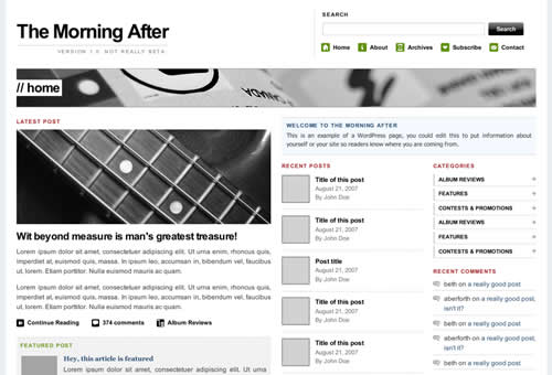 The Morning After Magazine Theme by themasterplan.in