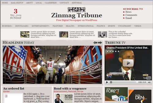 zinmag tribune wordpress theme by web2feel.com